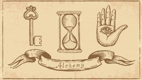 """""""Transmutation"""" is the Key word characterizing alchemy, and it may be understood in several ways: in the changes that are called chemical, in physiological changes such as passing from sickness to health, in a hoped-for transformation from old age to youth, or even in passing from an earthly to a supernatural existence. Alchemical changes seem always to have been positive, never involving degradation except as an intermediate stage in a process having a """"happy ending."""" Alchemy ained at the great human """"goods"""": wealth, longevity, and immortality."""
